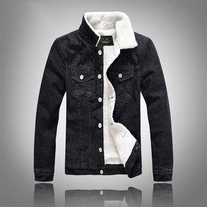 Winter large size denim black slim thickened lamb wool jacket men's velvet jacket