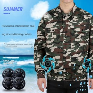 Air air conditioning tooling uniform conditioning clothing men's camouflage jacket 4 fans cooling USB charging tooling uniform Cotton
