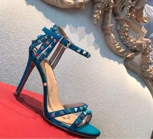 Primavera verano nuevo punta abierta remaches huecos correa zapatos de mujer súper tacón alto color multi-uñas sandalias de hebilla de cuero