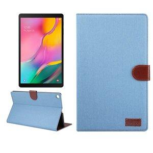 Denim Doku Yatay Samsung Tab 10.1 2019 T510 T515 için Holder ile Darbeye Kapak Tablet Kılıf çevirin