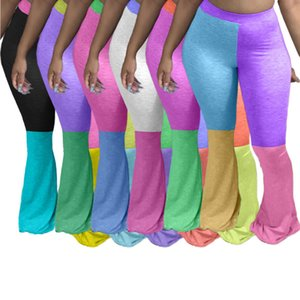 Womens Designer Panelled Jogginghose beiläufige Art und Weise Flare Pants Kontrast Farbe Panelled löst Sporthosen weibliche Kleidung 001