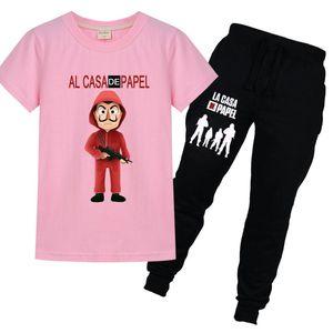 Funny La Casa De Papel T Shirt + Pants 2pcs Sets Money Heist Tees TV Series Boys Short Sleeve trousers Clothes Children Suits