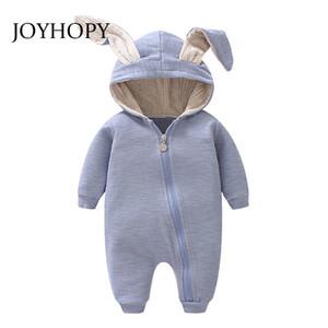 JOYHOPY 1pcs Baby Body Kinder Kinder nette Kaninchen mit Kapuze Langarm-Overall-Baby-Produkt, Baumwolle neugeborene Baby-Strampler LY191228