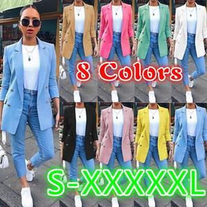 2020 Europeo de primavera y otoño la nueva venta caliente de la moda de color caramelo larga temperamento chaqueta del traje femenino, apoyar la hornada mezclada