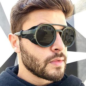 Round Steampunk Sunglasses Men Classic Brand Designer Vintage Punk Rivet Wrap Sun Glasses Retro Leather Eyewear For Male Uv400 TguNt