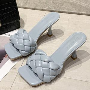 Femmes élégantes pompe tissage individuel loisir set pied bureau dames chaussures Charme carrée head Lady pantoufles casual femmes chaussures Y200702