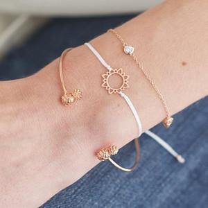 Hot Fashion Jewelry Bracelet Set Pineapple Little Sun Bangle Chain Bracelets 3pcs set S361