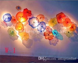 Forma 100% soplado a mano placas de pared de vidrio de arte moderno de la pared de cristal Deco Artes Chihuly estilo de la flor de la decoración de cristal Lámparas de pared