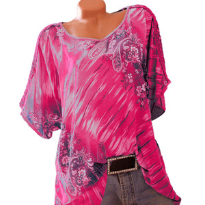 ISHOWTIENDA женщины топы и блузки o-образным вырезом кружева печати с коротким рукавом повседневная топы свободные рубашки BlouseBlouse bluzki дамские Су