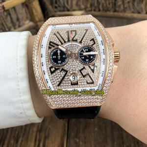 COLECCIÓN de los nuevos hombres VANGUARD V CC 45 DT BR (TT) diamantes Marcar Miyota cronógrafo de cuarzo relojes de lujo para hombre caja de oro reloj de diamantes de Rose