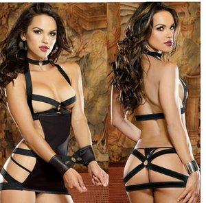 La ropa interior atractiva de la medianoche Charol caliente atractiva vendedora en la prisión sin respaldo americana atractiva Europea y uniforme