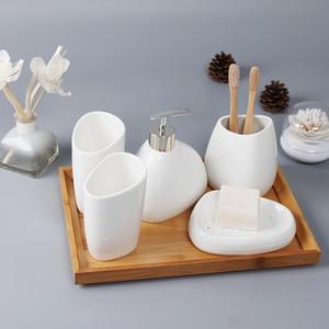 Accesorios de baño de cerámica Set sostenedor del jabón dispensador de jabón Cepillo de dientes Vaso Plato hisopo de algodón artículos de aromaterapia para el hogar