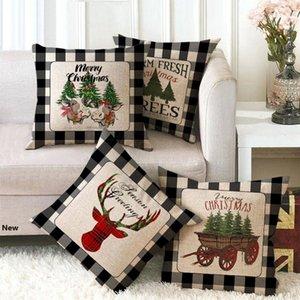 British Christmas Pillow Case Cover Plaid Merry Christmas Throw Cushion Cover For Xmas Tree deer Home Car Sofa Decoration 45*45cm FFA3221