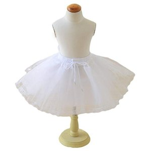 2019 White Short Girls Wedding Petticoats Three Layers Lace Edge Tulle Boneless Petticoat Simple Mini Underskirts for Children