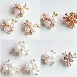 10шт / Set перлы Faux цветка Rhinestone Приукрашивания Брошь Flatback Кнопки для DIY Crafts Свадебные аксессуары партии