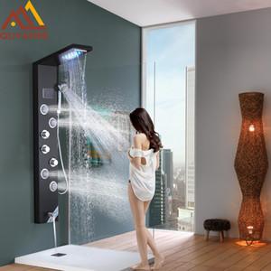atacado Preto hidroeletricidade Digital Coluna Painel de Visualização Duche LED Chuva Cachoeira Duche 2-way Mixer Spa Jets Bath Shower