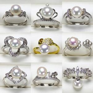2019 configurações de anel de pérola diy 925 anéis de prata anel de zircão para menina mulheres menina brilhante jóias finas presente diy ajustável 9 pçs / lote
