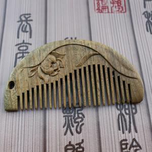 Exquisitamente tallada peine masaje cuidado del cabello anti-estática peine embarcaciones madera peine