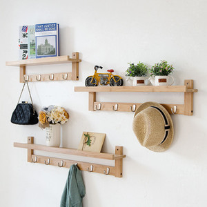 Parete attrezzata Actionclub Bamboo Rack fai da te bagagli mensola di legno con ganci decorazione domestica creativa parete vestiti appesi Shelf 1 PC