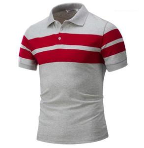 مطبوعات Polos الموضة قصيرة الكم اللون الطبيعي Polos عادي Slim Stand Colar T Shirts Men Clothing Mens Designer Strip