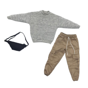 1/6 Scale gola redonda camisola + Calças + Bags Combo para 12 \ '\' Hot Toys, Male Action Figure