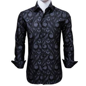 Шелковое Мужские рубашки с длинным рукавом Jacquard Woven Черный Фиолетовый Paisley тонкая рубашка для платья венчания партии Быстрая доставка Изысканный моды CY-0004