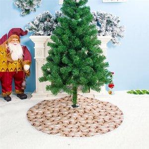 Christmas Tree Skirt Party Decoration Cloth Christmas Tree Elk Printed Dress Round Shape Apron Skirt 60cm