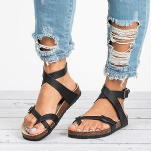das mulheres Sandálias Sapatos 2019 Toe Verão plano de espessura sólida PU Casual Beach Girl Feminino Flops Ladies Footwear mulheres Preto Castanhos 35-43