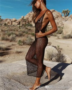 Sommer Designer Womens Sexy Beach Smock Fest Farbe Kleid Bohemian Hand stricken Netzs Ausschnitt Bikini-Rock
