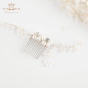 Bavoen 2 Cores Acessórios de cabelo na moda do casamento Handmade pérolas de água doce Noivas cabelo pentes de cabelo prata cola Evening Headwear