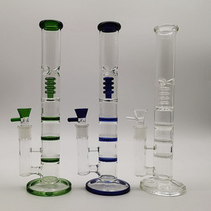Straight Tube Clear Glass Bong Triple comb Water Pipes Birdcage Perc Dab Oil Rigs Glass Bongs For Smoking With Glass Bowls HR316