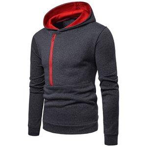 Fresco caliente de otoño invierno delgada para hombre sudadera con capucha de sudadera chicos guapos Gris oscuro Negro Azul Rojo Hoodies