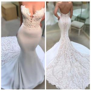 Impressionante Querida Wedding Dresses Satin Mermaid Backless Escova Train nupcial Vestido Lace apliques abiti da sposa para o jantar de ensaio