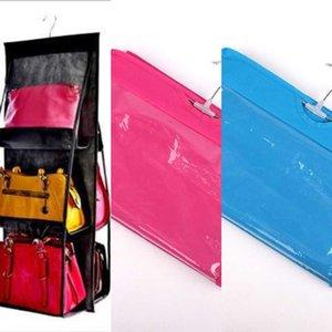 Hand storage wall hanging multi-layer hand Wardrobe handbag fabric storage dustproof transparent hanging bag wardrobe
