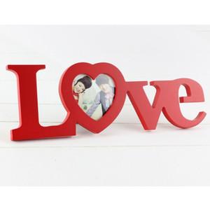 Amor Photo Frame Branco Vermelho Forma de Coração Titular Imagem Decoração Presente de Dia Dos Namorados