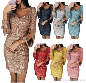 Hot Hollow Out party Dresses for Women sexy Clothes Fashion Sequins tassels Lace short sexy bell evening Casual crew V Neck girl Size Dress