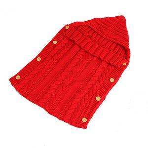 Sacchi a pelo all'ingrosso del knit del bambino Baby Button Sleepsacks infante appena nato bambino Swaddling Borsa sonno infantile acrilico copertura dell'involucro Borse DBC DH0739