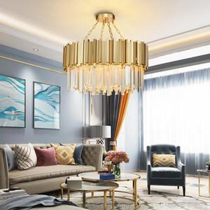 New Modern Lustre de Iluminação Chrome Polido Aço Cristal Lâmpada de Luxo Rodada Sala de Jantar Sala de estar LEVOU Lustre de Cristal