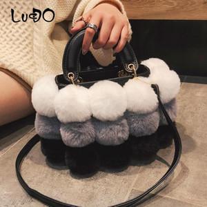 Inverno da pele do falso luxo New Ladies bonito Designer Tote Bag Mulheres Bola Cabelo Handbag Ombro Messenger Bags bolsos mujer sac