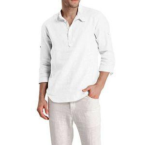 Мужские хлопчатобумажные льняные рубашки с длинным рукавом твердые повседневные блузки платья мягкие топы Tee camisa social masculina camisas para hombre