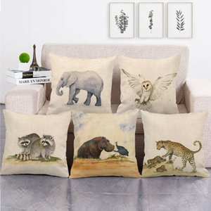 45cm*45cm African wildlife design linen cotton throw pillow covers couch cushion cover home decor pillow