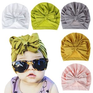Cute Kids Bow Hat Fashion Baby Candy Colors Beanie Hats Soft Newborn Bowknot Headscarf Children Party Hair Accessorie TTA2011-3