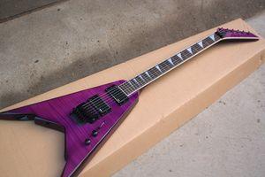 Фабрика электрогитары из палисандрового грифа, 24 специальных инкрустации, пурпурный корпус, черный крепеж, активный пикап HH, Folyd Rose.