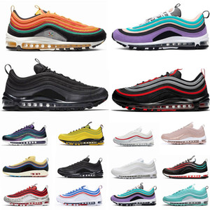 97 New Mens Running Shoes 97s OG Sean Wotherspoon Almofada de prata Red Black Gold Athletic Mens treinadores desportivos Sneakers