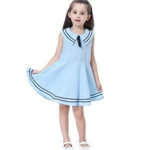 جودة طفلة بوتيك ملابس الأميرة القطن البحرية نمط القوس فساتين الفتيات تنورة فتاة زي ملابس الأطفال حزب 5 ألوان XZT049