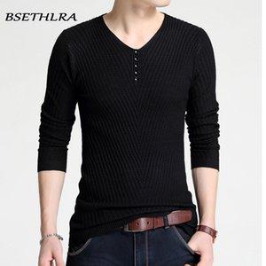BSETHLRA 2020 V cuello del invierno de punto de los hombres de la cachemira suéter para hombre Pullover suéteres de punto Tire de Menl Slim Fit Homme