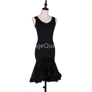 Noir sur mesure Femmes professionnelle de danse latine vêtements pour femmes Salle de bal Concours de danse Robes adulte moderne Valse tango Cha Cha Danc Costume