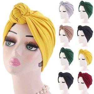 Donne Turbante del cofano del cotone di colore del soild nodo interno Hijab Caps signore headwrap africano torsione di testa avvolge India Hat Hijabs Cap