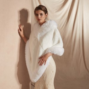 CMS18112 For Weddings and Events Women Luxury Bridal Faux Fur Shawl Wraps Cloak Coat Sweater Cape Women Shawl For Special Occasion