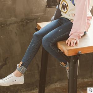Kinder All-Match Jeans Neue 2019 Herbst und Frühling Kinder Kaninchen Hosen Mädchen Hosen Denim 2 Volltonfarben Size4-14 Jeans ly481